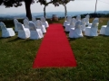 slaovbrána, červený koberec, židle s potahy, pronájem Štefek
